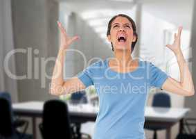Stressed woman in meeting room office