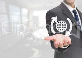 Open palm business hand with globe world icon and around arrows against white background