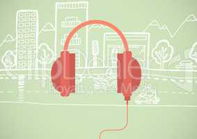 Red headphone illustration icon in cirlce against green background with street drawing