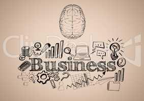 Transparent brain with black business doodles against cream background