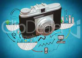 3D Camera in front of technology and city graphic drawings
