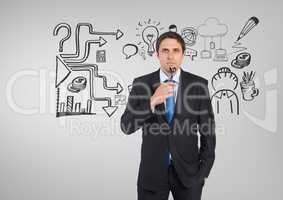 Businessman with ideas business graphics drawings