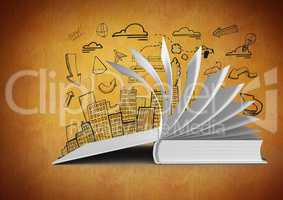 3D Book open turning pages against orange background with city illustration drawings