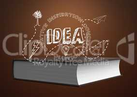Idea illustration text in front of Book against brown background