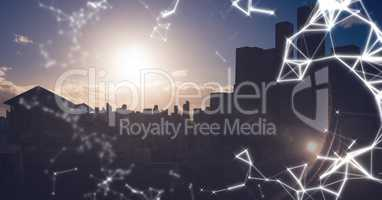 White network against dark skyline