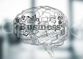 Transparent brain with black business doodles against blurry grey office