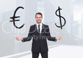 Man choosing or deciding euro or dollar currency with open palm hands
