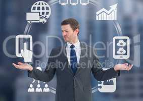 Man choosing or deciding business icons wheel with open palm hands