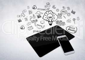 3D tablet and phone against white background with business graphic illustrations