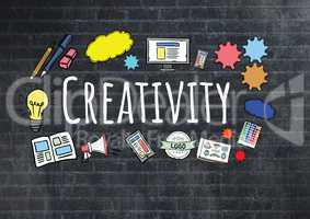 Creativity text with drawings graphics