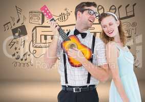 Coupe with guitar and music graphic drawings
