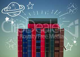 Standing books with white space doodles against blue green background