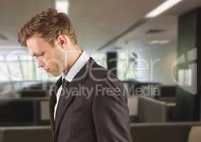 Sad disappointed businessman in office