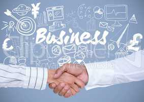 Business handshake with Business graphics drawings
