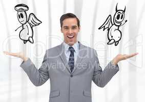Man choosing or deciding good or evil with open palm hands