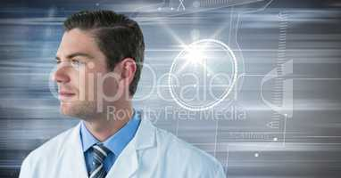 Man in lab coat against motion blur and flare