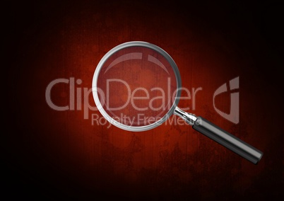 3D Magnifying glass against brown stained background