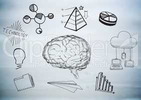Transparent brain with black business doodles against blurry grey wood panel