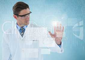 Man in lab coat and goggles with white interface and blue background