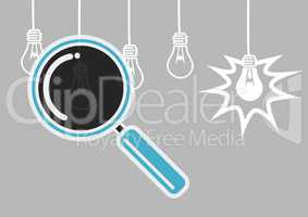 Magnifying glass illustration searching lightbulbs for ideas against grey background