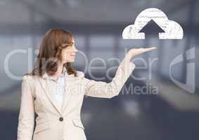 Woman with open palm hand under cloud upload icon