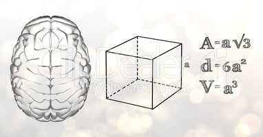 Grey brain and black math graphics against white bokeh