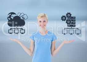 Woman choosing or deciding cloud storage or servers with open palm hands