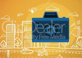 camera illustration icon against orange background with graphic drawing of street