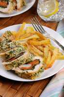 Chicken breast roll with spinach and carrots