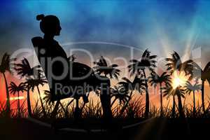 Silhouettes of lady sitting in office chair against sunset view with palm trees