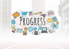 Progress text with drawings graphics