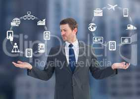 Man choosing or deciding business icons wheels with open palm hands