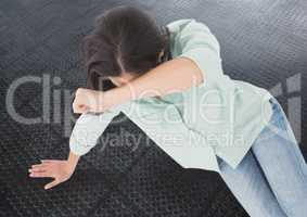 Distressed woman grief on metal floor