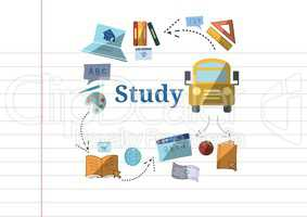 Study text with education drawings graphics