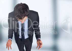 Stressed man against blurred background