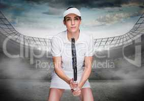 Tennis player in stadium with bright lights and sky with clouds