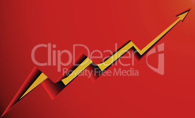 smooth yellow arrow on a red background