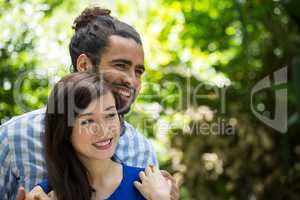 Romantic young couple in park
