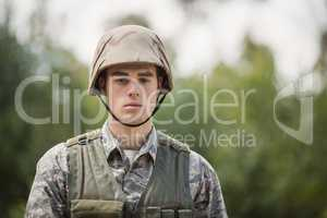 Portrait of handsome military soldier