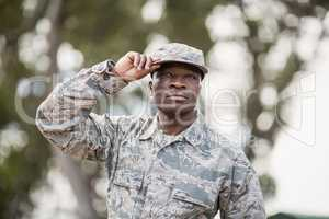 Confident military soldier