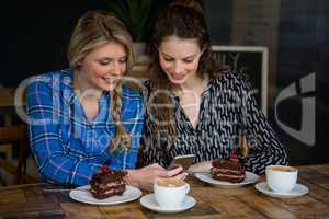 Beautiful young women using smart phone in cafe