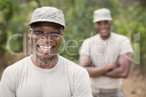 Portrait of happy military soldiers