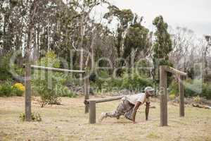 Military soldier training on fitness trail