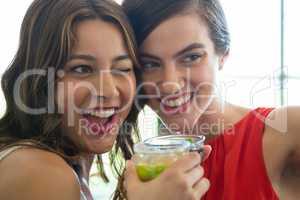 Cheerful women toasting drinks in restaurant