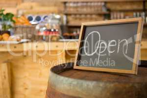 Open signboard in coffee shop