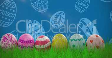 Composite image of patterned easter eggs arranged side by side