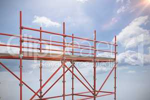 Composite image of 3d image of red metal structure with shadow