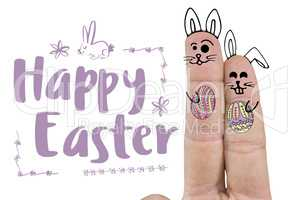 Composite image of close up of fingers representing easter bunny