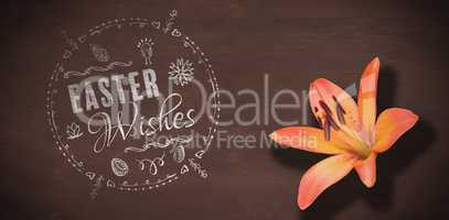 Composite image of easter wishes logo against black background