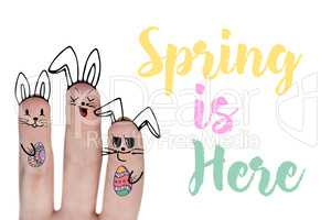 Composite image of vector image of fingers representing easter bunny